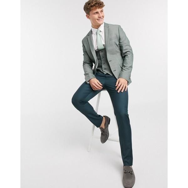 エイソス メンズ ジャケット&ブルゾン アウター ASOS DESIGN super skinny blazer in green wool mix Green