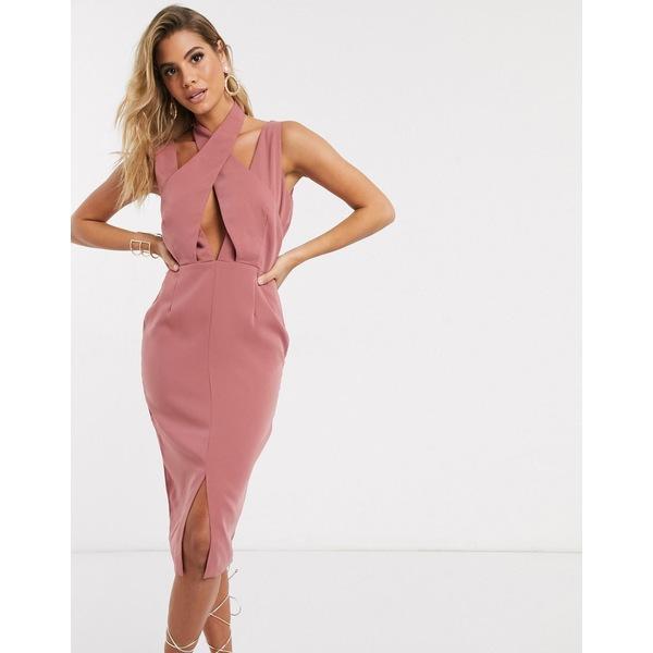 ラビッシュアリス レディース ワンピース トップス Lavish Alice cross over neck midi dress in rose pink Dusty rose
