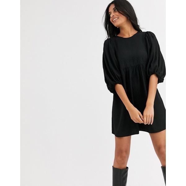 アンドアザーストーリーズ レディース ワンピース トップス & Other Stories smock dress in confetti dot black base Leaf jacquard