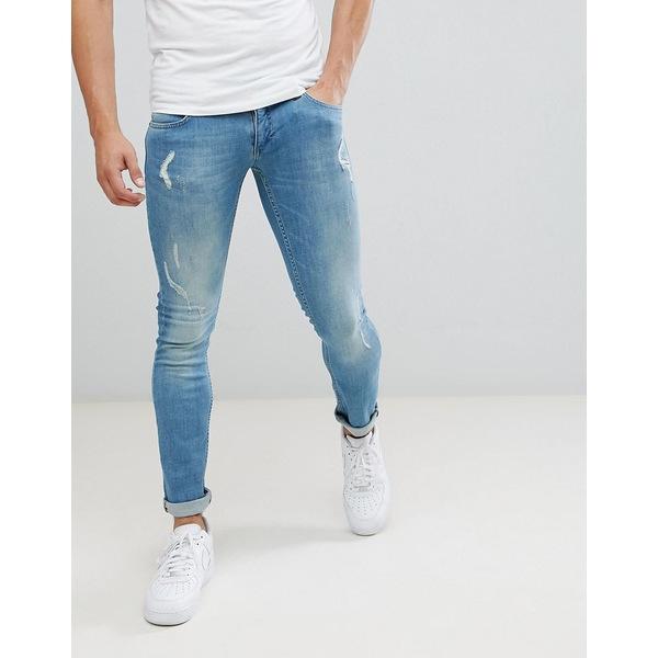 レリジョン メンズ デニムパンツ ボトムス Religion Skinny Fit Jeans With Stretch And Rips In Blue Ripper blue