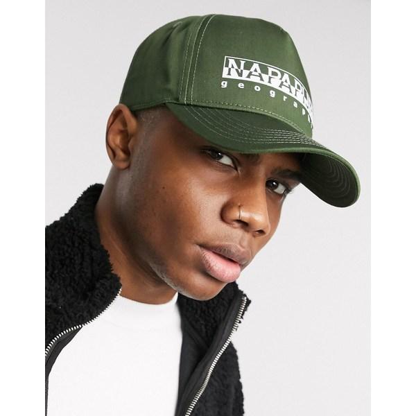 ナパピリ メンズ 帽子 アクセサリー Napapijri Framing cap in green Green way