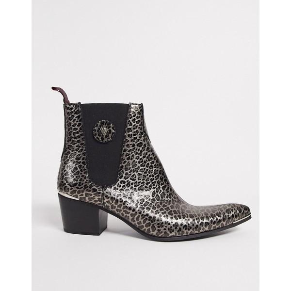 ジェフリーウェスト メンズ ブーツ&レインブーツ シューズ Jeffery West sylvian chelsea boot in leopard Black