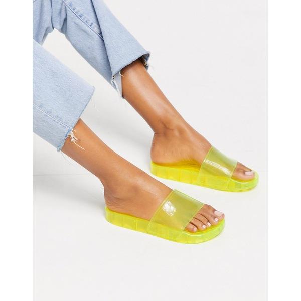 エイソス レディース サンダル シューズ ASOS DESIGN Frost pool slider in yellow Yellow