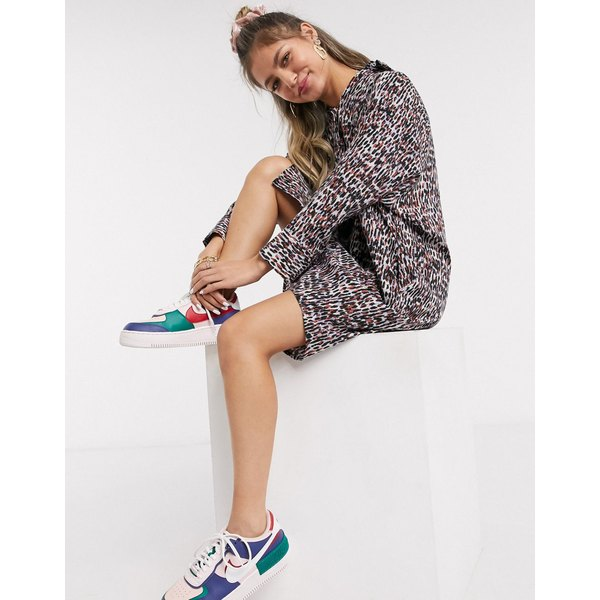 モンキ レディース ワンピース トップス Monki Moa raglan abstract print shirt dress in multi Multi