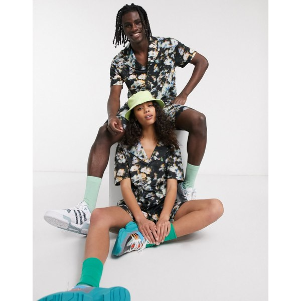 エイソス レディース シャツ トップス ASOS DESIGN x glaad& unisex two-piece jersey shirt in floral print Black
