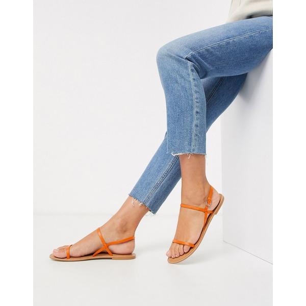 エイソス レディース サンダル シューズ ASOS DESIGN Fuse leather flat sandals in orange Orange