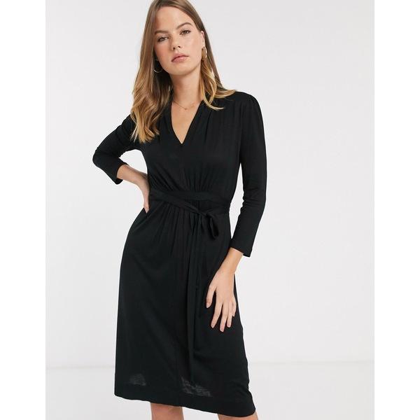 フレンチコネクション レディース ワンピース トップス French Connection Brunella tie waist dress Black