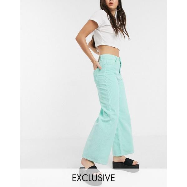 リクレイム ヴィンテージ レディース カジュアルパンツ ボトムス Reclaimed Vintage inspired The '93 wide cord pants in soft mint Mint green