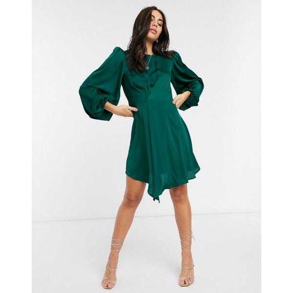 リクオリッシュ レディース ワンピース トップス Liquorish mini dress with balloon sleeves in forest green Green