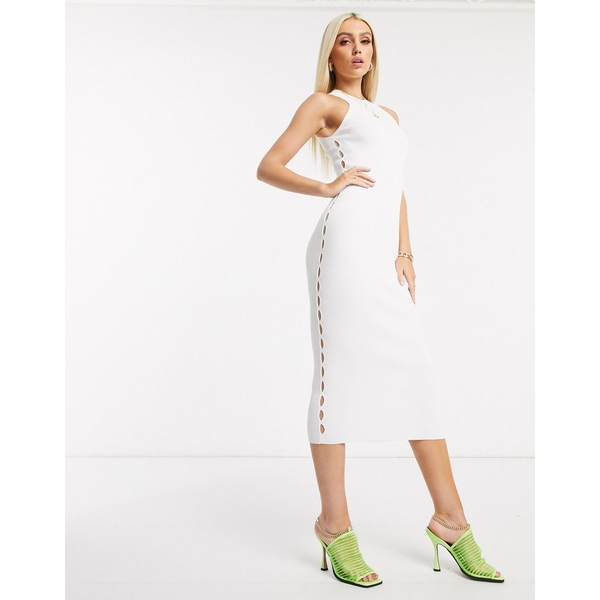 エイソス レディース ワンピース トップス ASOS DESIGN racer neck knitted midi dress with cut out detail White