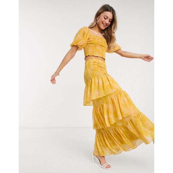 エバニュー レディース スカート ボトムス Ever New tiered ruffle maxi skirt two-piece in mustard floral Mustard