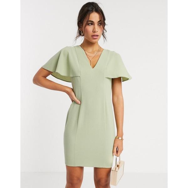 エイソス レディース ワンピース トップス ASOS DESIGN angel sleeve v neck mini shift dress in sage green Sage green