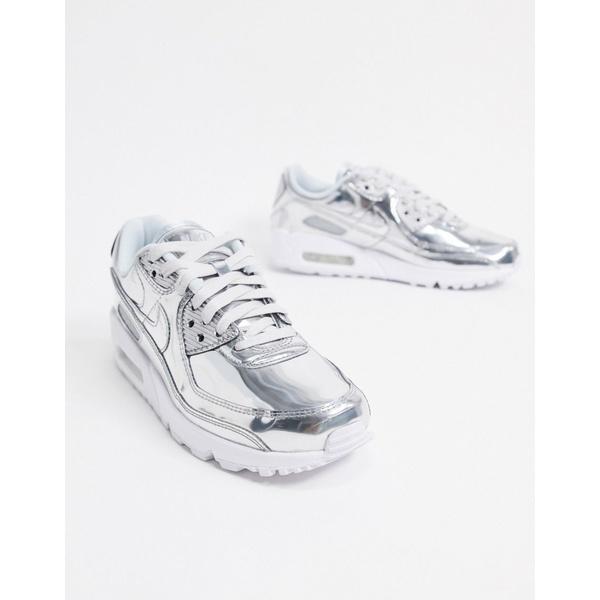 ナイキ レディース スニーカー シューズ Nike Air Max 90 Liquid Metal sneakers in silver Chrome