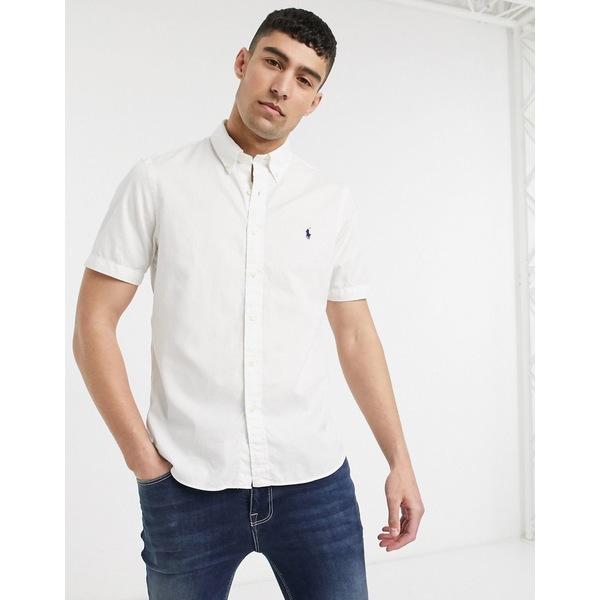 ラルフローレン メンズ シャツ トップス Polo Ralph Lauren player logo short sleeve garment dyed chino shirt classic fit in white White
