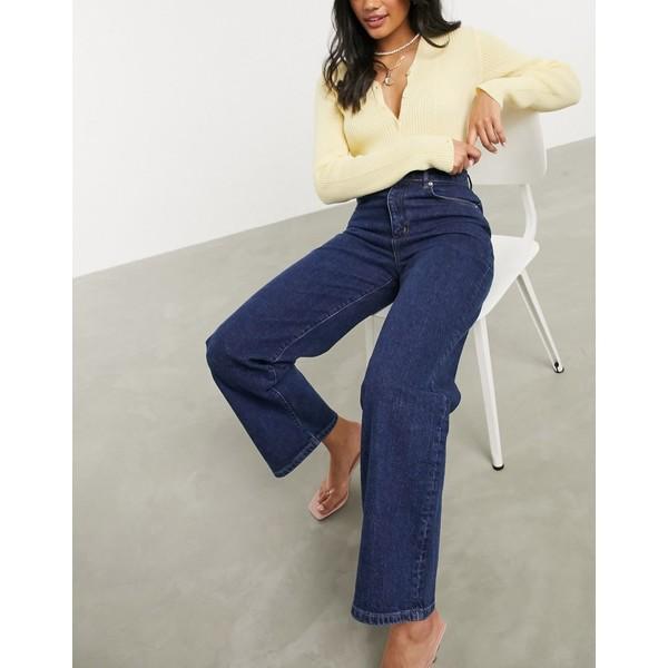 エイソス レディース デニムパンツ ボトムス ASOS DESIGN high rise wide leg jean in vintage indigo comfort stretch Indigo