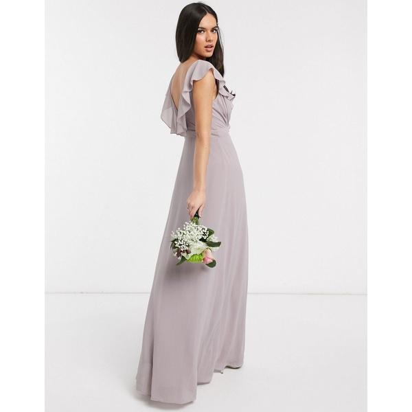 ティエフエヌシー レディース ワンピース トップス TFNC bridesmaid ruffle detail maxi dress with thigh split in gray Gray5jLq34RA