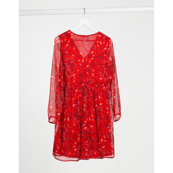 オンリー レディース ワンピース トップス Only nabby v neck ditsy floral dress in red RedMqSUzGVp