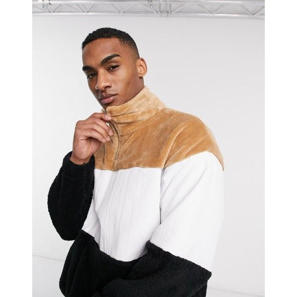 エイソス メンズ ジャケット&ブルゾン アウター ASOS DESIGN super soft teddy fleece & nylon track top in color blocking Tannin