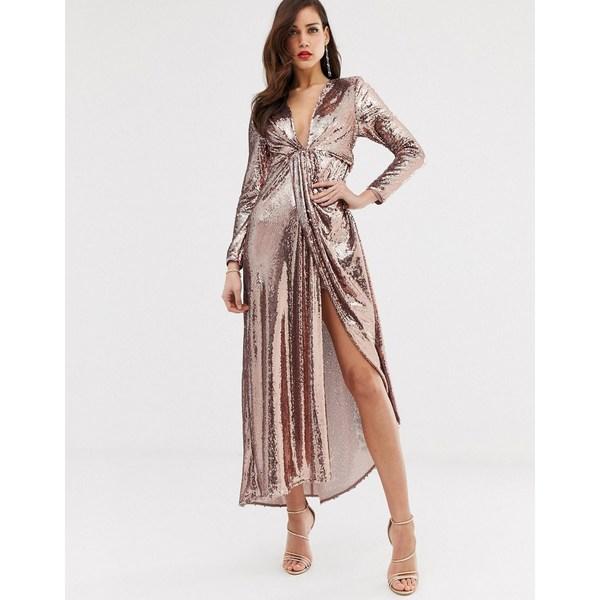 エイソス レディース トップス 店 ワンピース Rose gold ブランド買うならブランドオフ 全商品無料サイズ交換 ASOS maxi EDITION in plunge asymmetric sequin dress