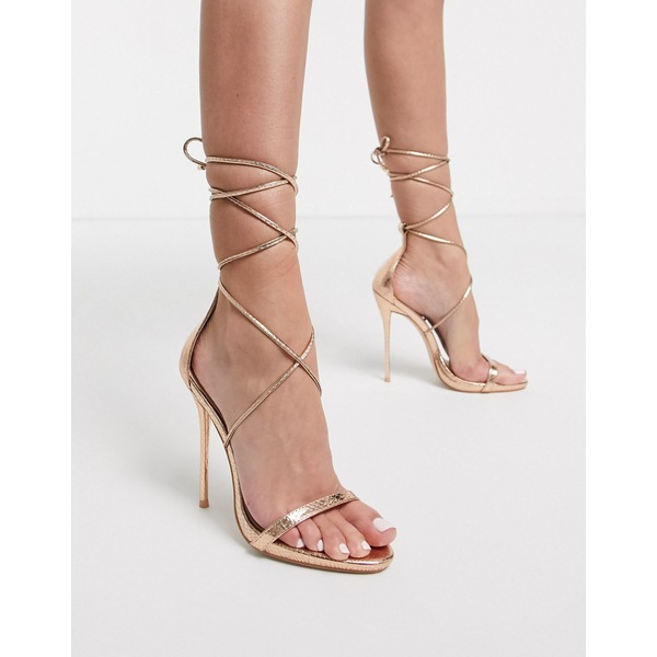 シミシューズ レディース ヒール シューズ Simmi London Shania ankle tie heeled sandals in rose gold Rose gold