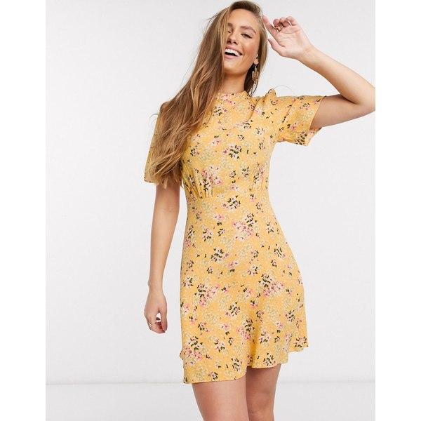 ニュールック レディース ワンピース トップス New Look flutter sleeve mini dress in yellow ditsy floral print Yellow