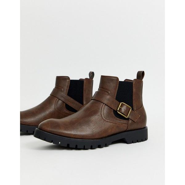 トゥラッフル メンズ ブーツ&レインブーツ シューズ Truffle Collection side buckle chelsea boot in brown Brown