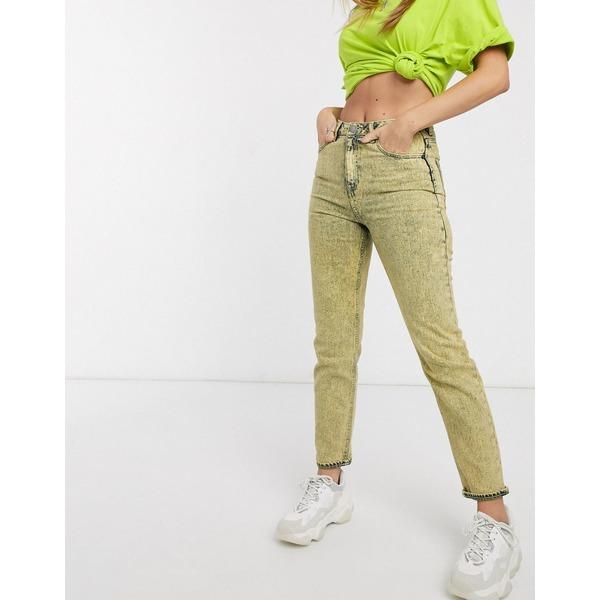 エイソス レディース デニムパンツ ボトムス ASOS DESIGN Farleigh high waist slim mom jeans in lemon acid Lemon acid