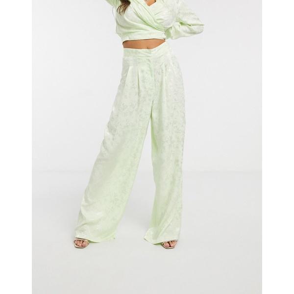 エイソス レディース カジュアルパンツ ボトムス ASOS DESIGN soft jacquard wide leg two-piece pants Pastel lime