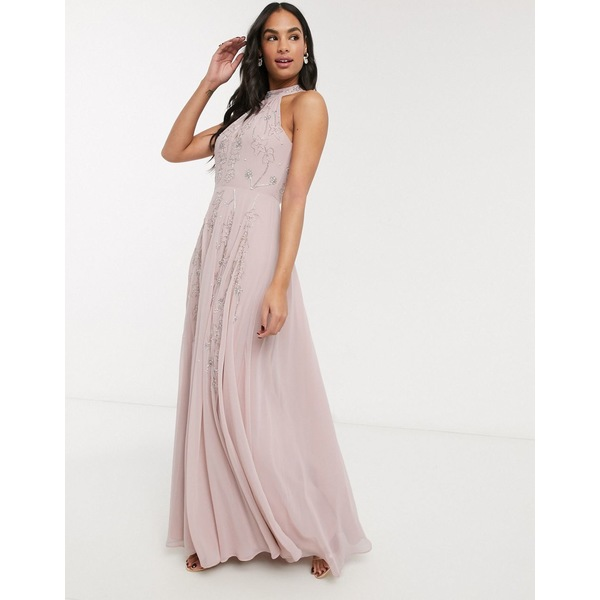 エイソス レディース ワンピース トップス ASOS DESIGN halter maxi skater dress in embellishment with godets Soft pink