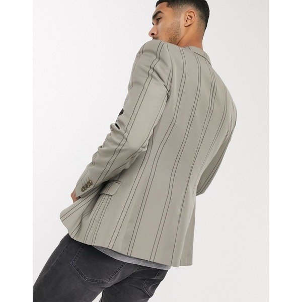 エイソス メンズ ジャケット&ブルゾン アウター ASOS DESIGN skinny blazer with gray stripe Gray