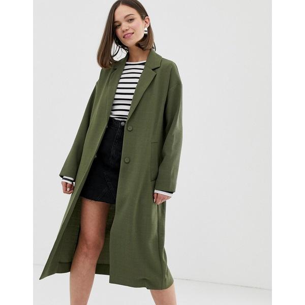 モンキ レディース コート アウター Monki lightweight tailored coat in khaki Green