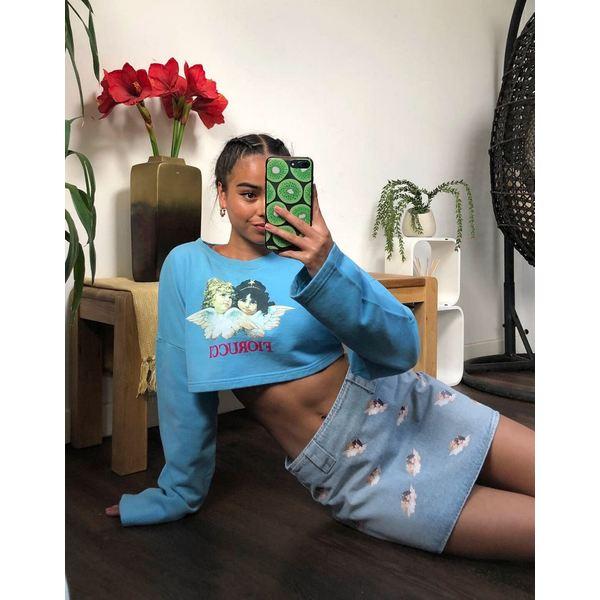 フィオルッチ レディース スカート ボトムス Fiorucci all over angels mini denim skirt in lightwash blue Light vintage