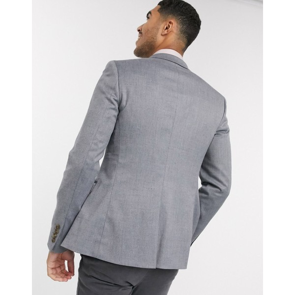 エイソス メンズ ジャケット&ブルゾン アウター ASOS DESIGN wedding super skinny wool mix blazer in gray Gray