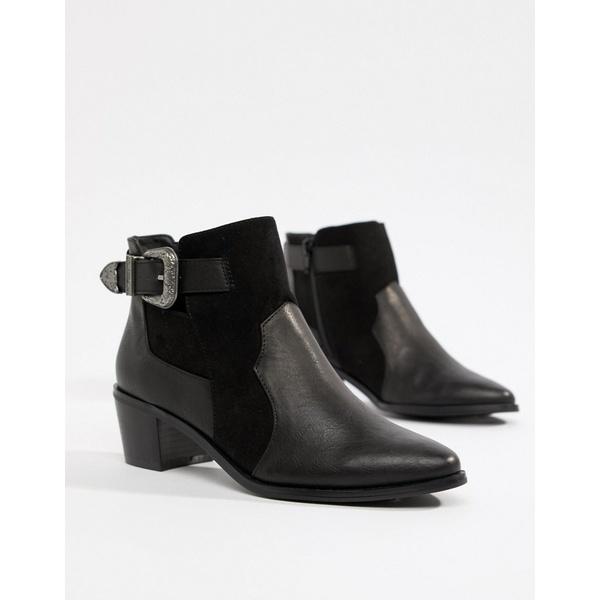 ミスセルフフリッジ レディース ブーツ&レインブーツ シューズ Miss Selfridge exclusive western ankle boot in black Black
