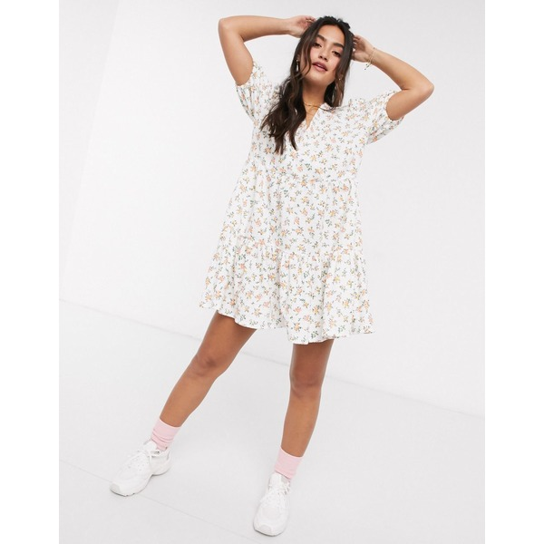 エイソス レディース ワンピース トップス ASOS DESIGN mini smock dress with v neck in floral print Floral print