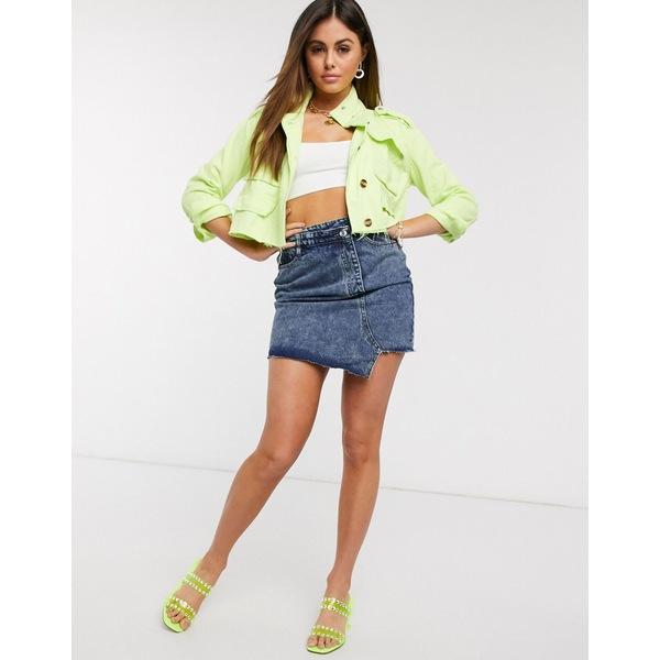 ミスガイデッド レディース ジャケット&ブルゾン アウター Missguided twill cropped jacket in lime Lime