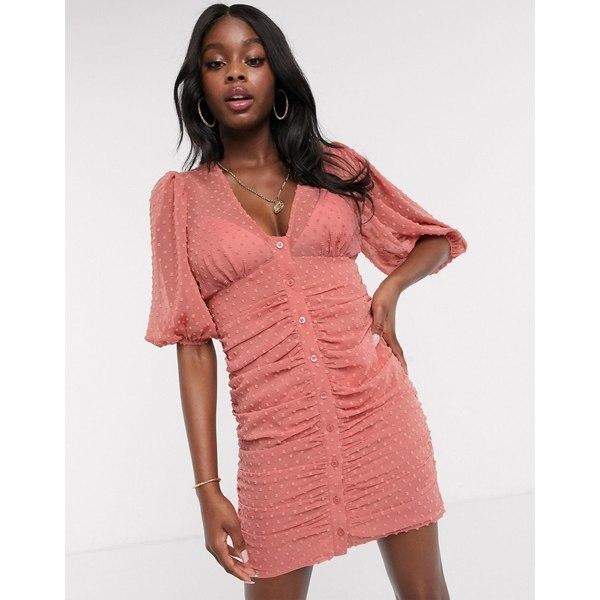 エイソス レディース ワンピース トップス ASOS DESIGN button through dobby mini dress with puff sleeve in terracotta Terracotta