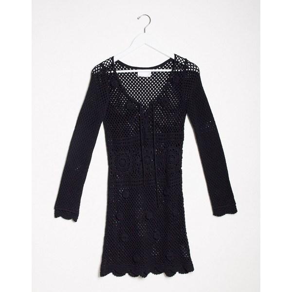 エイソス レディース ワンピース トップス ASOS DESIGN hand crochet knit mini dress Black