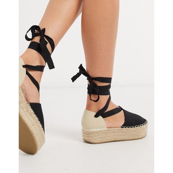 エイソス レディース サンダル シューズ ASOS DESIGN Jamie flatform tie leg espadrilles in black/natural Black/natural