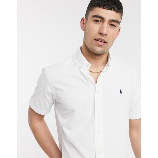 ラルフローレン メンズ シャツ トップス Polo Ralph Lauren short sleeve performance twill shirt classic fit in white White