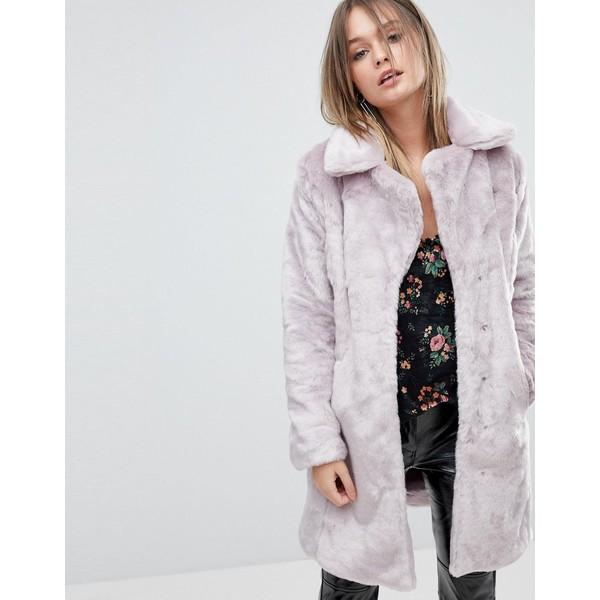ミスセルフフリッジ レディース コート アウター Miss Selfridge Crushed Faux Fur Coat Lilac