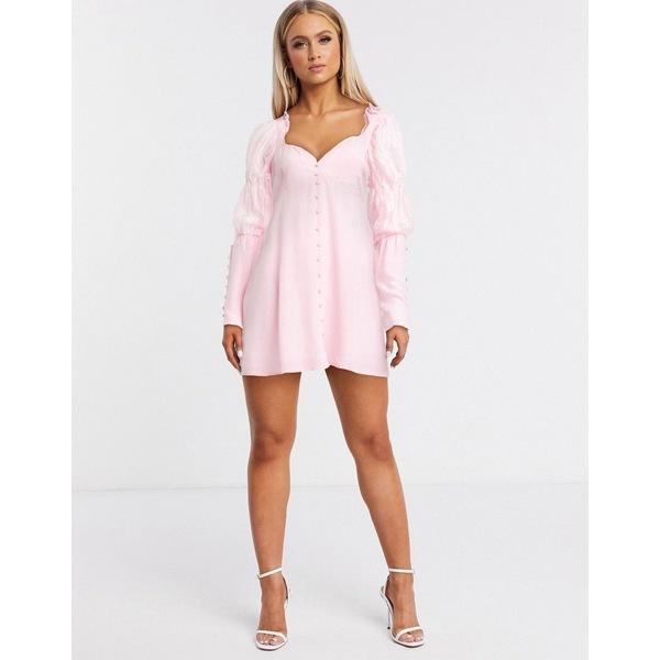フォーラブアンドレモン レディース ワンピース トップス For Love and Lemons emanuelle swing dress pink Pink
