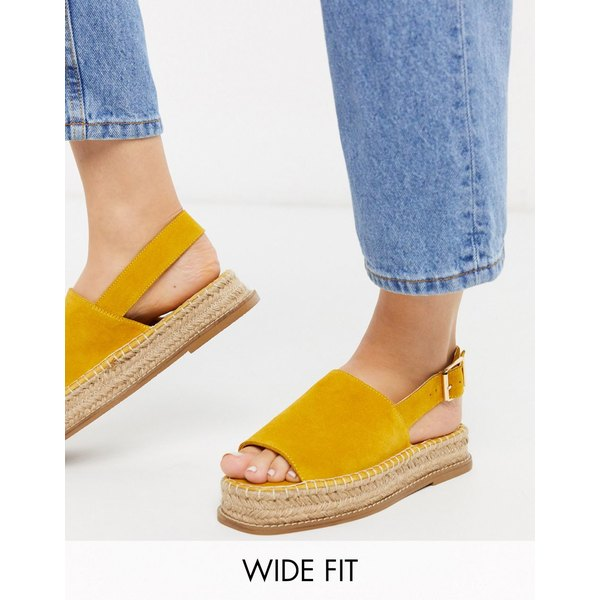 エイソス レディース サンダル シューズ ASOS DESIGN Wide Fit Hannah suede flatform espadrilles in yellow Yellow
