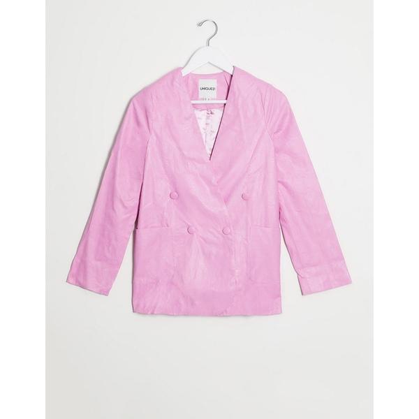 ユニーク21 レディース ジャケット&ブルゾン アウター Unique21 faux leather blazer in hot pink Pink