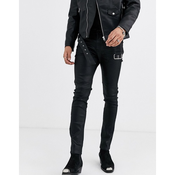 エイソス メンズ デニムパンツ ボトムス ASOS EDITION skinny jeans in black coated leather look with western details Black