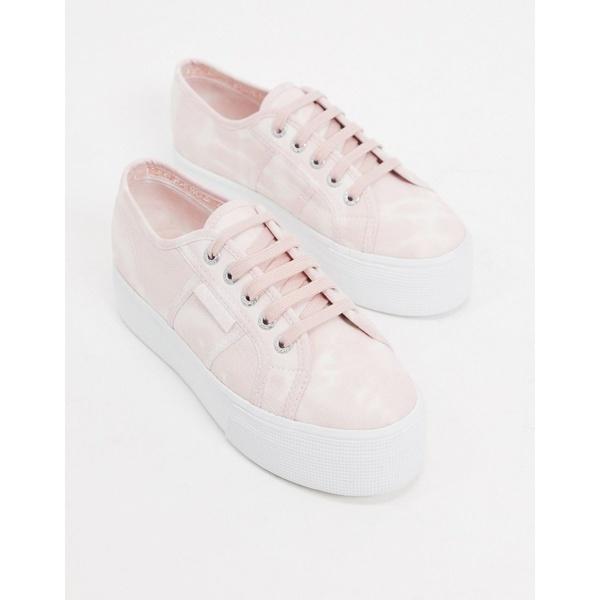 スペルガ レディース スニーカー シューズ Superga 2790 flatform 4cm sneakers in pink tye dye Pink tiedye