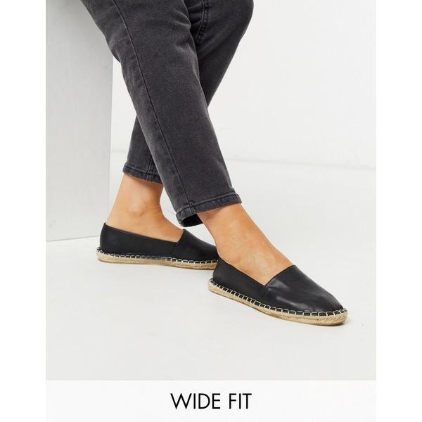 エイソス レディース サンダル シューズ ASOS DESIGN Wide Fit Jodie espadrilles in black Black