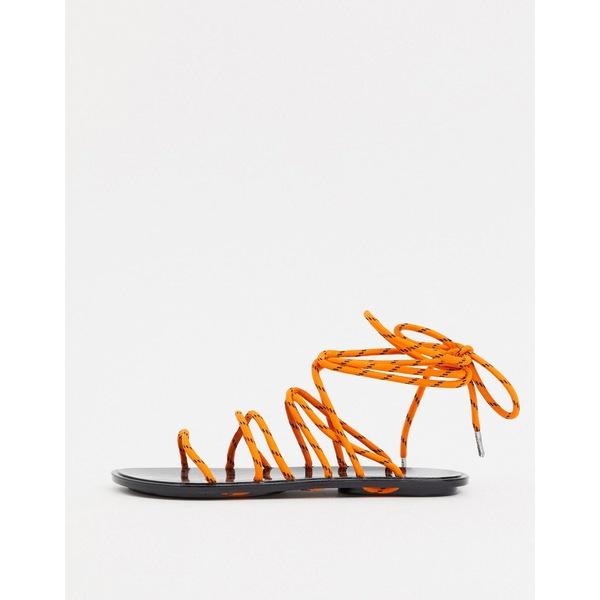エイソス レディース サンダル シューズ ASOS DESIGN False Start sporty tie leg jelly sandal in orange and black Orange/black