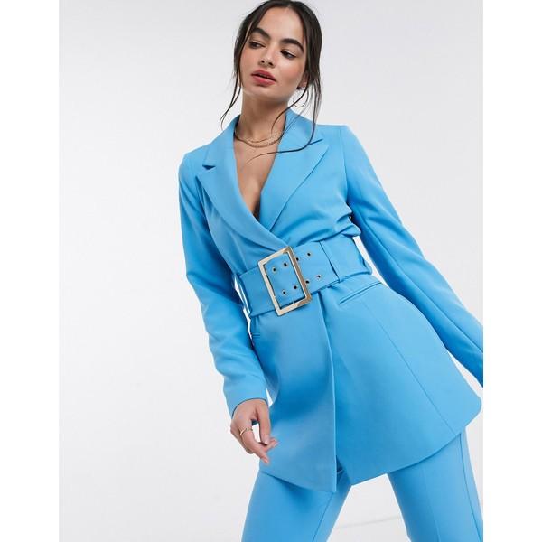 リバーアイランド レディース ジャケット&ブルゾン アウター River Island belted blazer in blue Blue bright