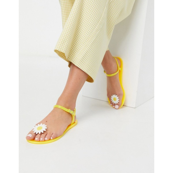 エイソス レディース サンダル シューズ ASOS DESIGN Fearless daisy jelly flat sandals in yellow Yellow